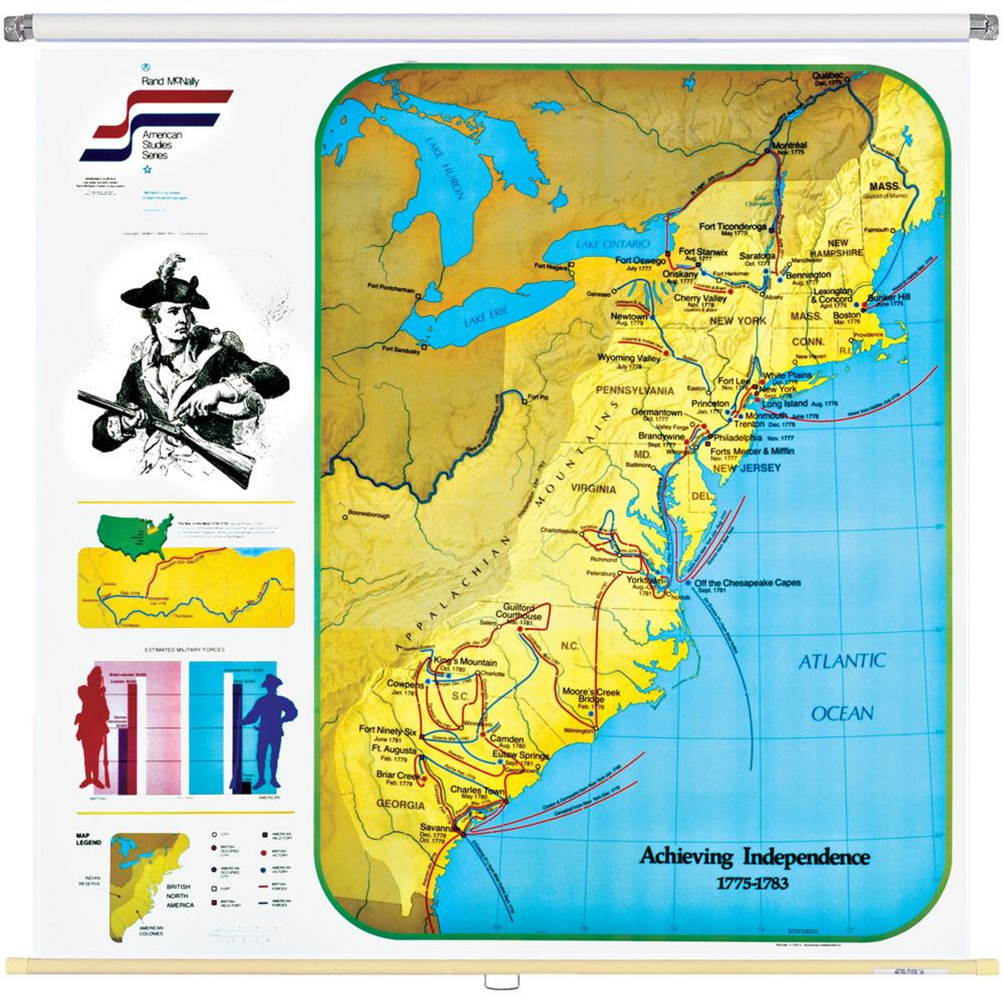 Achieving Independence Wall Map (1775-1783 Eastern United States)