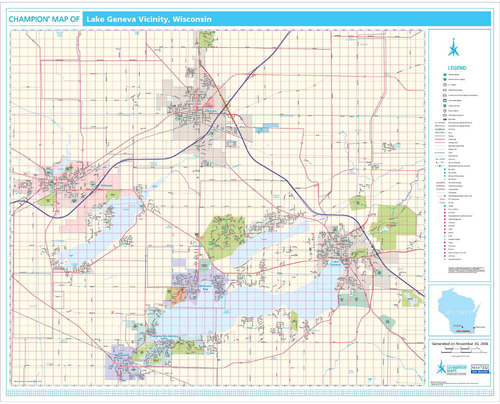 Pro Series Wall Map: Lake Geneva WI