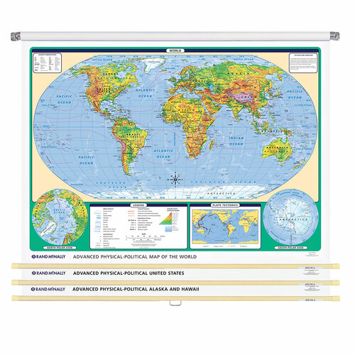 World & U.S. Advanced Physical-Political 3-Wall Map Combo | Grades 6-12+