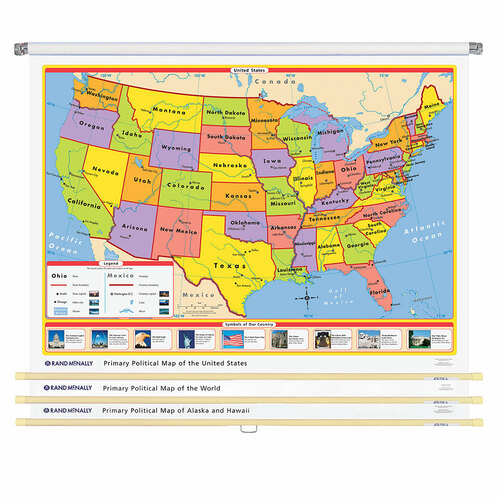 World & U.S. Primary Political 3-Wall Map Combo | Grades Pre-K - 2