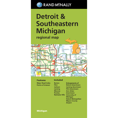 Folded Map: Detroit and Southeastern Michigan Regional Map