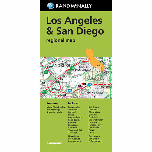 Folded Map: Los Angeles & San Diego Regional Map