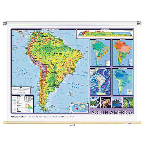 South America Physical-Political Wall Map