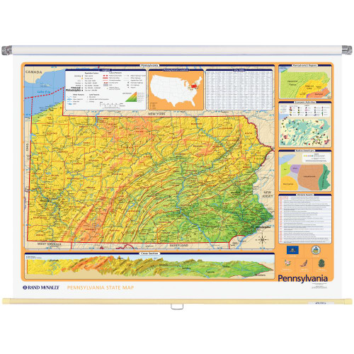 Pennsylvania Physical-Political State Wall Map