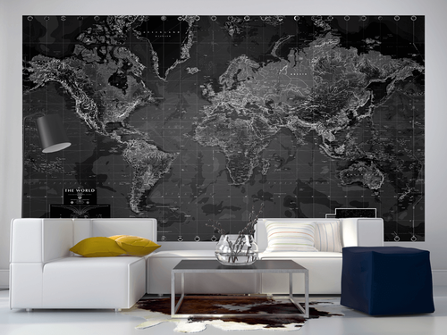 Black and White World Map Wall Mural