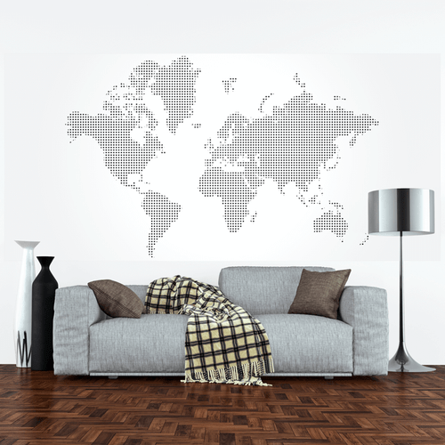 Dotted World Map Wall Mural