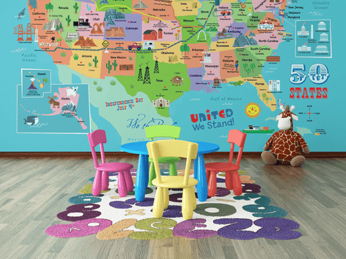 Kids' USA Map Illustrated Wall Mural