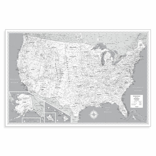 Pin Your Journeys® U.S. Wall Map in Black and White