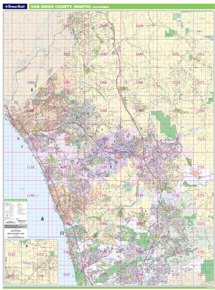 Thomas Bros. North San Diego County Wall Map