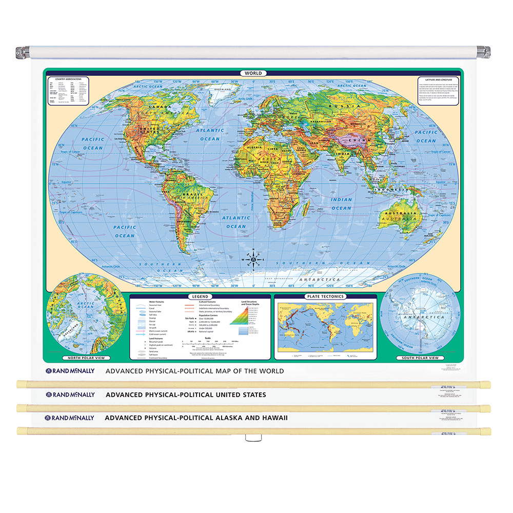 World & U.S. Advanced Physical-Political 3-Wall Map Combo | Grades 6-12+