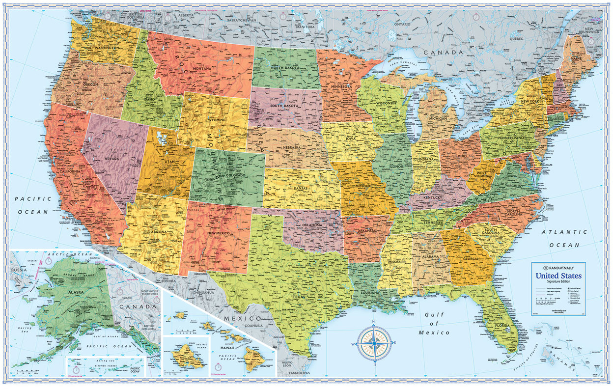 Signature Edition Us Wall Maps Rand Mcnally Store - Full-map-of-us
