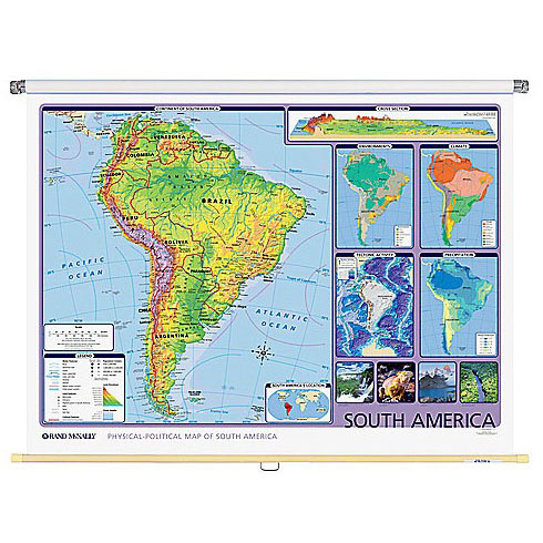 South America Physical Political Wall Map Rand Mcnally Store