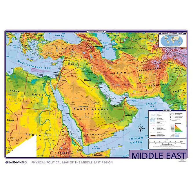 Middle East Physical Map Middle East Physical Political Wall Map   Rand McNally Store Middle East Physical Map