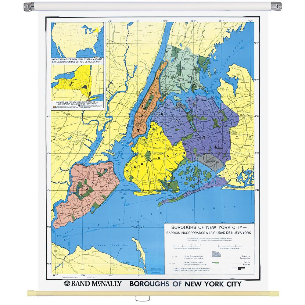 Map Of The Boroughs Of New York.New York City Boroughs Wall Map