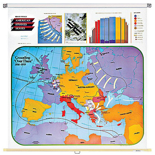 Crusading Over There Wall Map (1914-1919 Europe) on
