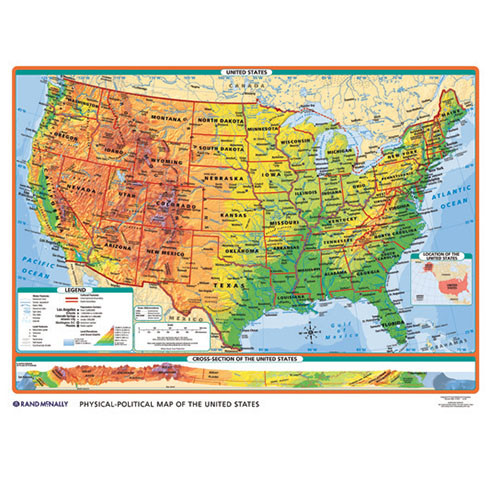 Physical Us Map.Physical Political U S World Desk Map Rand Mcnally Store
