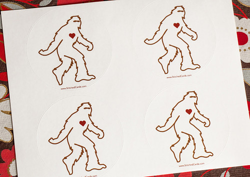 "Even Sasquatch Loves Stickers, 2"" round (4 per sheet)"