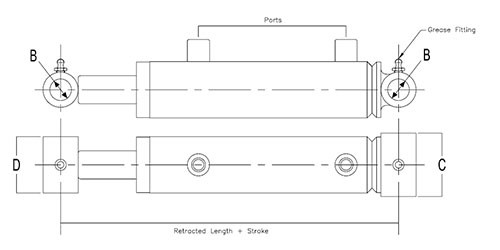 """Hercules HMW2016 Hydraulic Cylinder 2"""" bore with 16"""" stroke Hercules Sealing Products"""