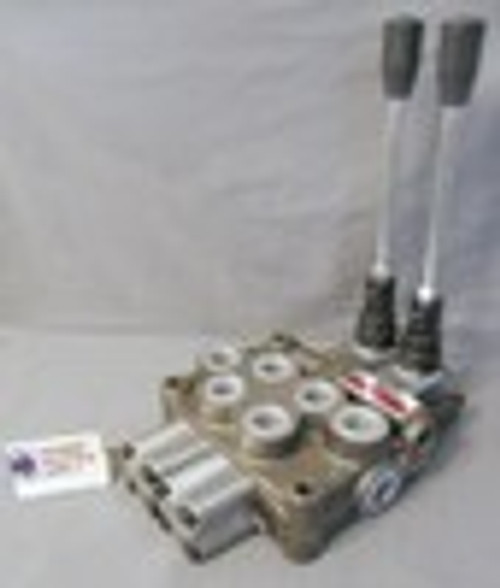 Hydraulic 4 way 3 position Two Spool manual lever operated directional control valve 21 GPM Tandem spools spring centered