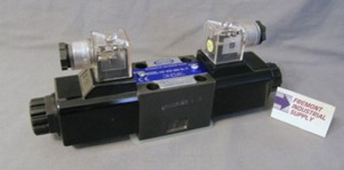 (Qty of 1) Power Valve USA HD-3C6-G03-DL-B-DC24 D05 hydraulic solenoid valve 4 way 3 position, P open to Tank with ports A & B blocked  24 volt DC  Power Valve USA