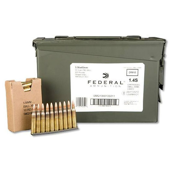 Federal, XM193, 556NATO, 55 Grain, Full Metal Jacket, 420 Rounds on Stripper Clips in Ammunition Can