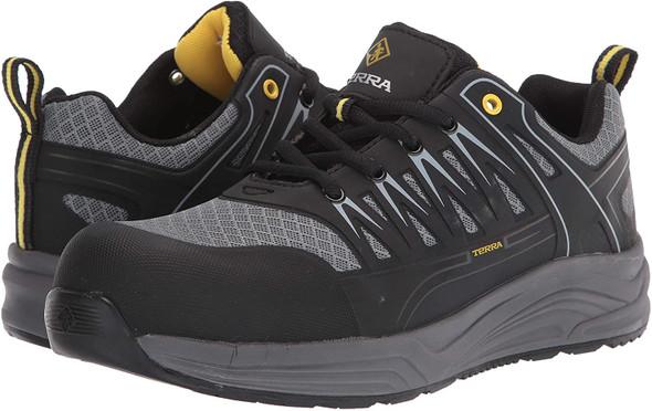 Terra Men's Black/Grey Rebound Slip Resistant Athletic Sneaker-Composite Toe