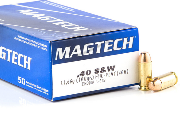 Magtech 40 Smith & Wesson Ammunition FMC-Flat MT40B 180 Grain CASE 1000 rounds