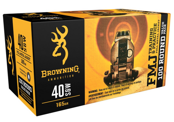 Browning 40 S&W 165 Gr FMJ  Brand Browning Ammo  Category Centerfire Handgun Rounds  Caliber 40 S&W Model Training & Practice  Bullet Weight 165 gr  Rounds Per Box 100  Casing Material Brass  Application Training,Target  Boxes Per Case 5  Bullet Type Full Metal Jacket (FMJ)  Muzzle Energy 416 ft lbs  Muzzle Velocity 1020 fps   Browning Ammunition's Training & Practice ammo has an FMJ bullet with a reloadable brass case. It comes packaged 100 per box, 5 per case. This value pack 40 S&W has a 165 Grain weight.