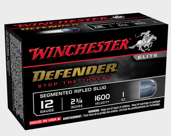 PDX1 Defender 12-gauge ammunition features a distinctive black hull, black oxide high-base head and a 1 oz segmenting rifled slug. Upon impact, the slug breaks into three equal segments compensating for aim error and providing critical penetration. This unique design is applicable for short and long range situations.