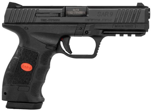 "Sar USA SAR9 Semi-Auto Pistol 4.4"" Barrel 9mm 17+1 Black Interchangeable Backstrap Grip Black"