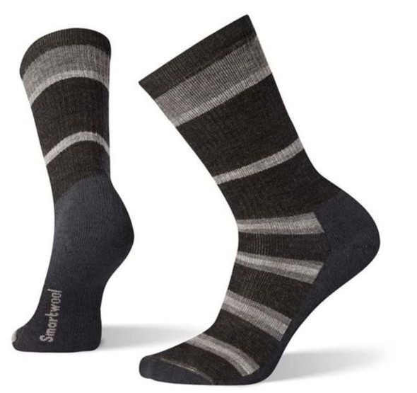 Smartwool Hike Medium Striped Crew, Charcoal, XL