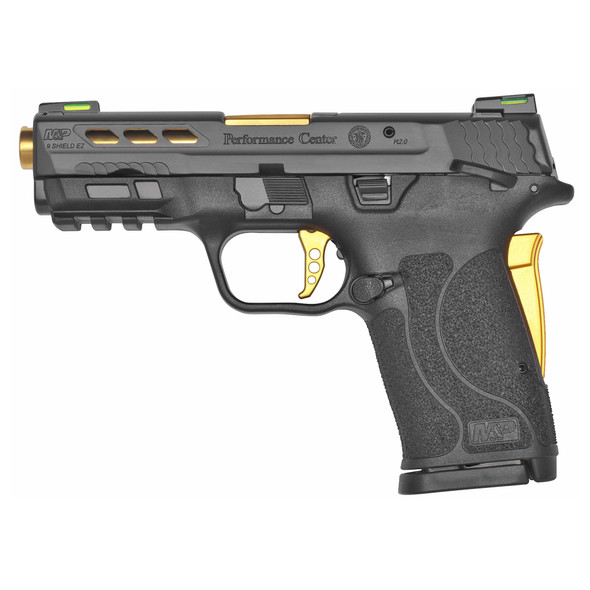 """Smith & Wesson, Performance Center Shield EZ, Semi-automatic, Compact, 9MM, 3.8"""" Ported Barrel, Black Armornite Finish, Polymer Frame, Black Color, 8Rd"""