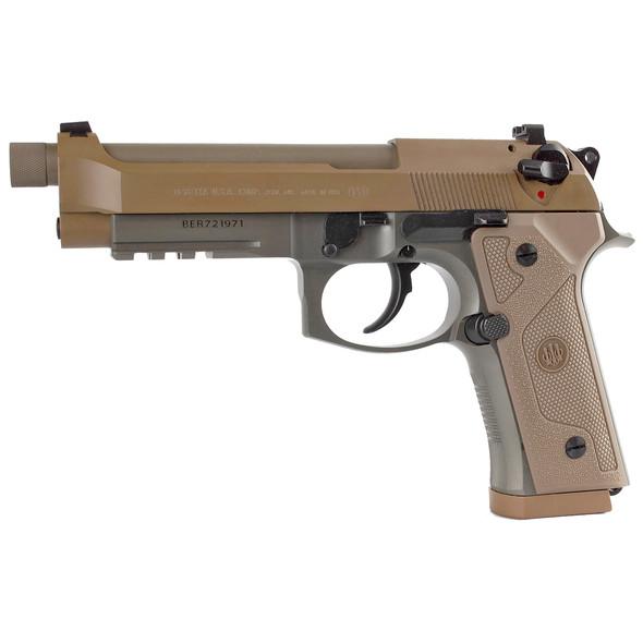 "Beretta, M9A3, Semi-automatic Pistol, 9MM, 5.2"" Threaded Barrel, Alloy Frame, Flat Dark Earth, Tritium Night Sights, Ambidextrous Safety, 3 Magazines, 17 Rounds, w/ Rail"