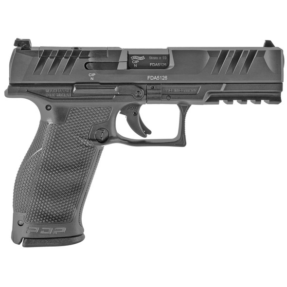 """Walther, PDP, Optics Ready, Semi-automatic, Polymer Frame, Striker Fired, Full Size Frame, 9MM, 4.5"""" Barrel, Adjustable Rear Sight, Black, 18Rd"""