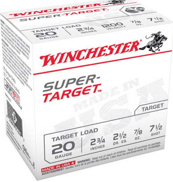 """Winchester Super Target Shotshells TRGT207, 20 Gauge, 2-3/4"""", 7/8 oz, 1200 fps, #7.5 Lead Shot, 25 Rds/Bx"""
