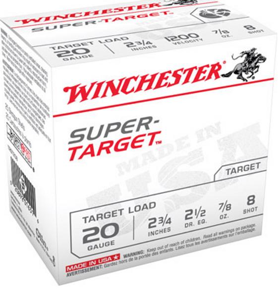 """Winchester Super Target Shotshells TRGT208, 20 Gauge, 2-3/4"""", 7/8 oz, 1200 fps, #8 Lead Shot, 25 Rds/Bx"""