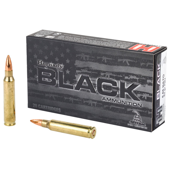 Hornady Black 556 Nato 62 Grain Full metal Jacket 20round boxes (100 Or 200 Rounds)