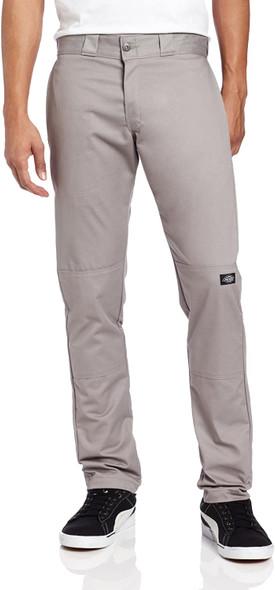 Dickies Men's Skinny Straight Double Knee Work Pant, Silver Gray