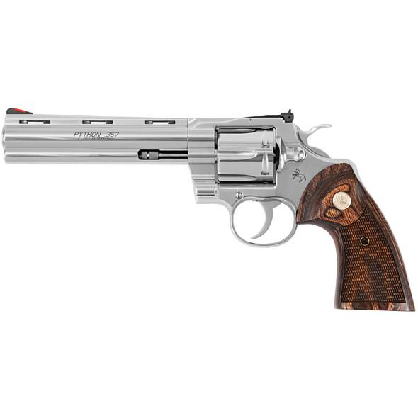 """Colt Python 357 Magnum 6"""" Pistol Stainless Steel Walnut grips"""