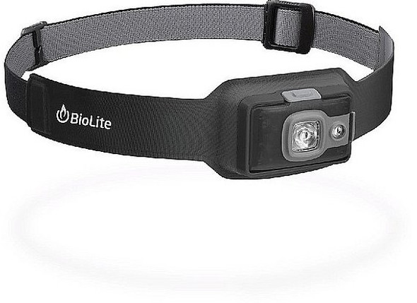 BioLite HeadLamp HPB0202 200 Lumen No-Bounce Rechargeable Light, Midnight Gray