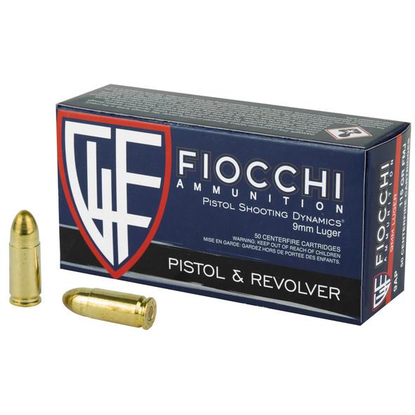 Fiocchi Ammunition, Centerfire Pistol, 9MM, 115 Grain, Full Metal Jacket, 1000 Rounds
