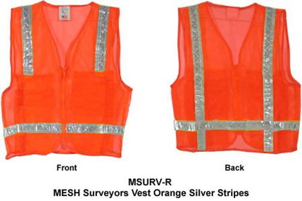 Mesh Surveyors Vest Orange Silver Stripes - Large