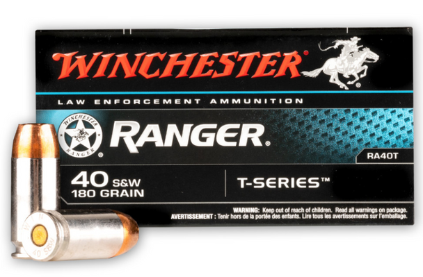 Winchester 40 S&W Ammunition Ranger RA40T 180 Grain T-Series Jacketed Hollow Point 50 rounds