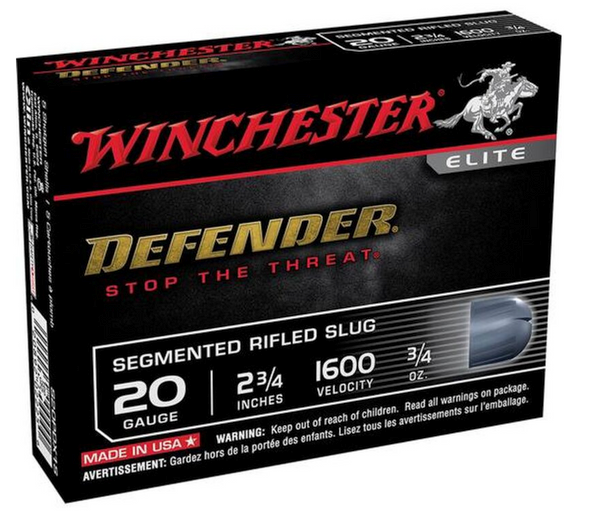 """When choosing ammo for your defensive shotgun, Winchester has you covered with Supreme Elite PDX1 Defender.  When it comes to the safety of you or your family, choose the shot shell load that delivers a threat stopping combination of two distinct personal defense technologies: the PDX1. Unique Slug Design segments into 3 pieces when fired into bare, light cloth and heavy cloth covered ballistic gelatin. Slug segmentation causes multiple wound channels, increased trauma and greatly reduces over penetration often associated with traditional slugs.  Features and Specifications: Manufacturer Number: S20PDX1S Caliber: 20 Gauge Shell Length: 2 3/4"""" Shot Weight: 3/4 oz Segmented Rifled Slug 1600 fps. Muzzle Velocity Uses: Personal Defense, Hunting"""