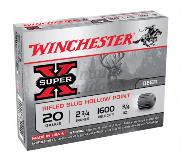 """Manufacturer:WinchesterModel:Super XCaliber:20 GaugeMuzzle Velocity: 1,600 FPS  Shell Length: 2.75""""  Shot Type: Slug  Slug Type: Hollow Point Rifled Slug  Slug Weight: .75 ounce  Units Per Box: 5  Units Per Case: 250"""