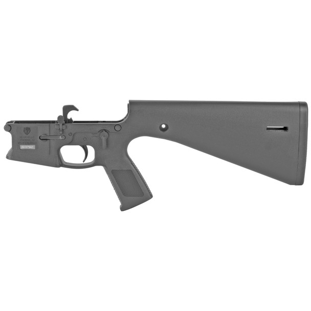 KE Arms, KP-15, Semi-automatic, Complete Polymer Lower Receiver with Built-In Fixed Stock, Black Color, Mil-spec Components, Uses Carbine Buffer and Spring