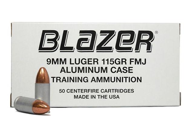 BLAZER 9 MM 115 GR FMJ ALUMINUM CASE 1000 ROUNDS