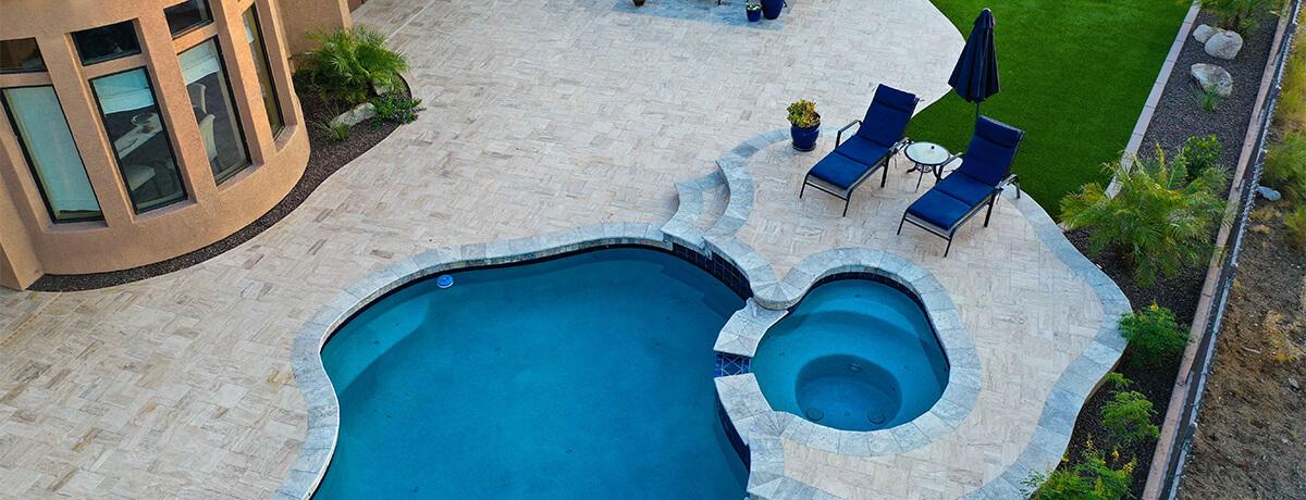 travertine pool and patio