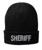 Black knit cap 12 inch with Sheriff in Tear Drop Thread