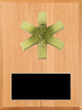 LSR-PLQ-SOL-EMS: Solid Wood w/Laser Engraved Black Brass Plate and Casting